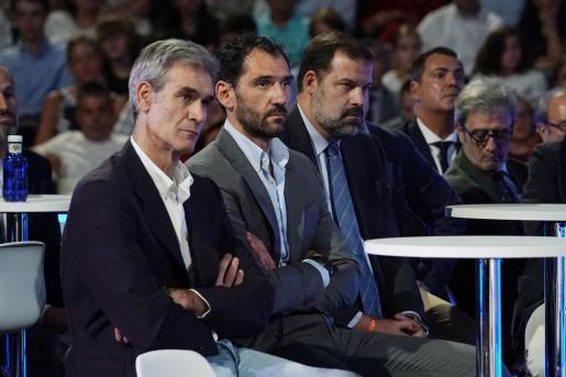 Antonio Martín, Jorge Garbajosa y Alfonso Reyes, presidentes de la ACB, FEB y ABP, respectivamente.