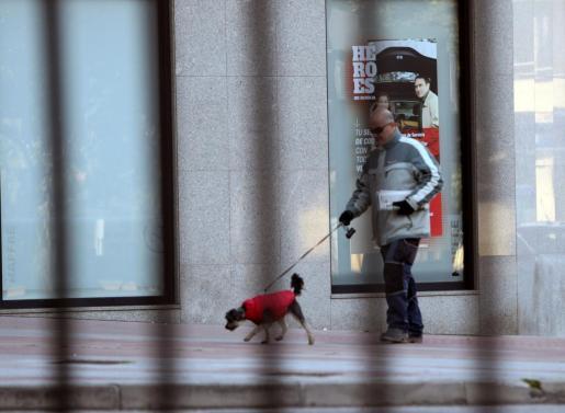 Un hombre pasea a su perro por una calle de León.