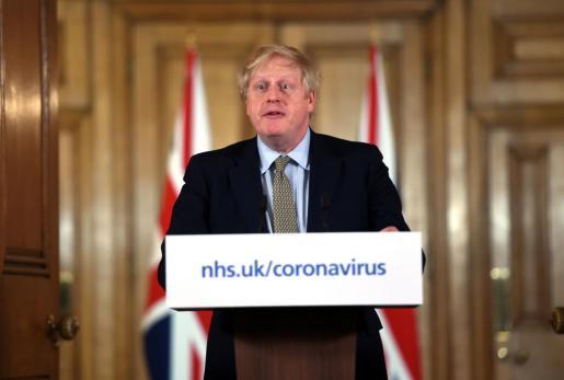 El primer ministro británico Boris Johnson en rueda de prensa.