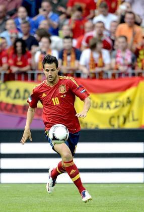 El jugador de la selección española Cesc Fábregas durante el partido.