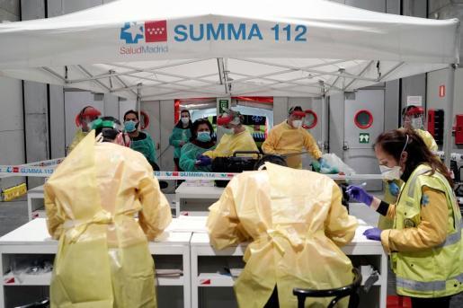 Hospital instalado en Ifema, en Madrid, donde la incidencia del coronavirus es superior a cualquier otra ciudad de España.