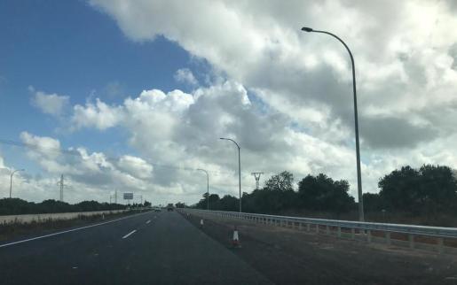 Vista del tramo de la autopista de Inca en el que se realizan las obras del enlace con Lloseta.