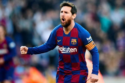 El jugador del Barcelona Leo Messi celebra un gol.