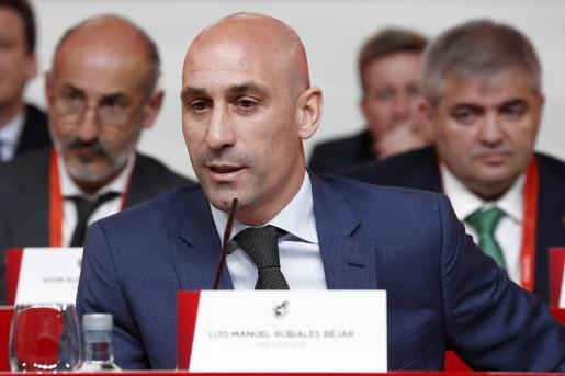 Luis Rubiales, presidente de la RFEF, en una Asamblea General en la Ciudad del Fútbol.