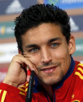El centrocampista Jesús Navas durante una rueda de prensa.