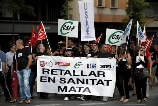 Imagen de la manifestación que ha tenido lugar esta tarde en el centro de Palma.