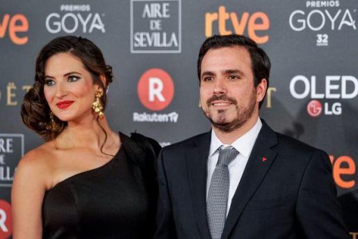 Anna Ruiz y Alberto Garzón, durante la entrega de los premios Goya.