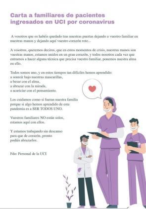 Esta es la carta de los sanitarios de la UCI.