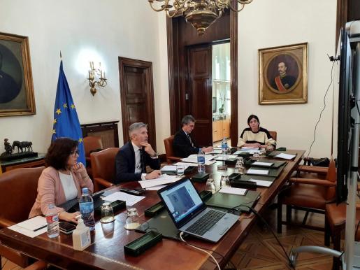 Fernando Grande-Marlaska presidiendo este jueves por videoconferencia la reunión del Comité de Coordinación de Protección Civil.