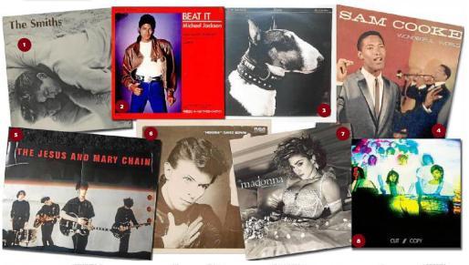 1. Portada del álbum homónimo de The Smiths (1983), que incluye 'This charming man'. 2. Sencillo 'Beat it', del rey del pop, Michael Jackson. 3. Portada de 'Here comes your man', de Pixies, del disco 'Doolittle'. 4. 'Wonderful world', un clásico de Sam Cooper del año 1960. 5. 'Just like honey', un pelotazo de Jesus & Mary Chain. 6. Sobran las palabras para hablar de 'Heroes', de David Bowie. 7. Madonna conoció la fama internacional gradias a este 'Like a virgin'. 8. Cut Copy, indie y electrónica con 'Unforgettable season'.