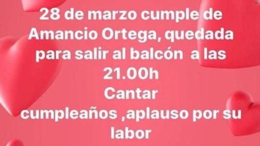 Convocatoria en redes para felicitar a Amancio Ortega por su cumpleaños.