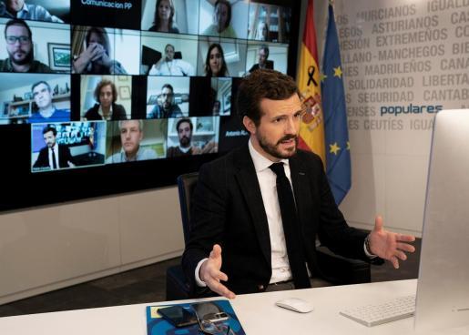 El presidente del Partido Popular Pablo Casado, durante la videoconferencia con la Comisión de seguimiento del COVID-19 del PP, el pasado viernes.