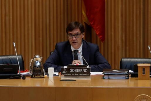 El ministro de Sanidad, Salvador Illa, ante la Comisión de Sanidad del Congreso de los Diputados.
