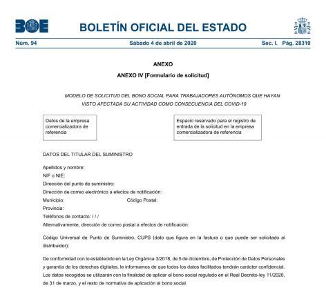 El BOE ha publicado este sábado el formulario para que autónomos afectados por la crisis pidan el bono social eléctrico.