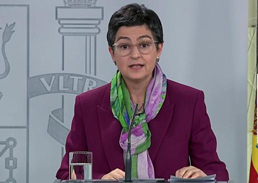 Captura de la señal institucional del Palacio de la Moncloa de la ministra de Asuntos Exteriores Arancha González Laya.