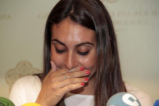 Marga Crespí, emocionada, el día que anunció su retirada del deporte profesional.