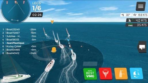 Imagen del paso por una boya dentro de la regata virtual del Real Club Náutico de Palma.