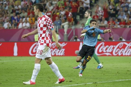 El español Jesús Navas celebra su gol ante Croacia.