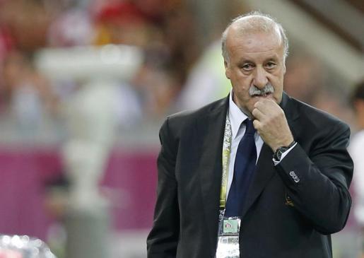 El entrenador de la selección Vicente del Bosque durante el partido.