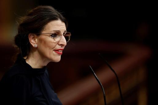 La ministra de Trabajo, Yolanda Díaz, interviene durante el pleno celebrado el pasado miércoles 25 de marzo en el Congreso de los Diputados en Madrid.