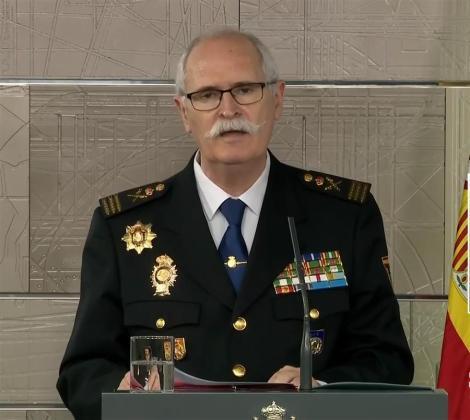 El subdirector general de Logística e Innovación de la Policía Nacional, el comisario principal José García Molina, durante la rueda de prensa ofrecida este miércoles en el Palacio de la Moncloa.
