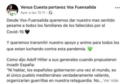 Publicación de la portavoz de Vox en Facebook.