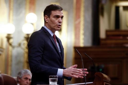 El presidente del Gobierno, Pedro Sánchez, durante su intervención en el pleno del Congreso.