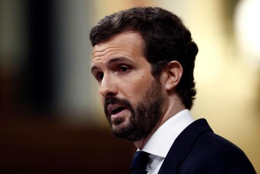 El líder del PP, Pablo Casado, durante su intervención en el pleno del Congreso celebrado para aprobar una nueva prórroga del estado de alarma.