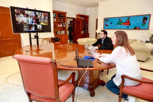 Francina Armengol ha mantenido este jueves una reunión con agentes sociales de Baleares.