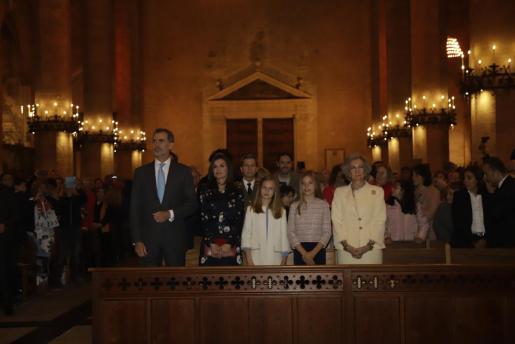 Imagen de archivo de la Familia Real en la misa de Pascua de 2019 que se celebró en la Catedral de Mallorca.