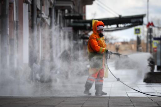 Tareas de desinfección en Moscú.