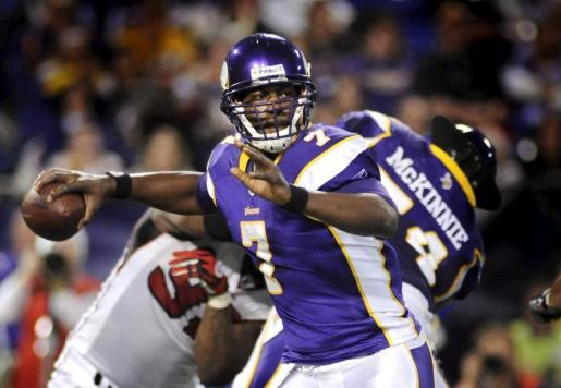 Tarvaris Jackson jugando con los Minnesota Vikings.