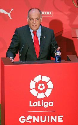 Javier Tebas, presidente de LaLiga, durante un acto promocional.