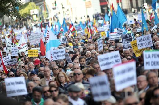 Manifestación en defensa de las pensiones celebrada en Madrid el 16 de octubre de 2019.