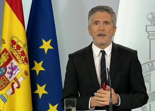El ministro Fernando Grande-Marlaska en rueda de prensa.
