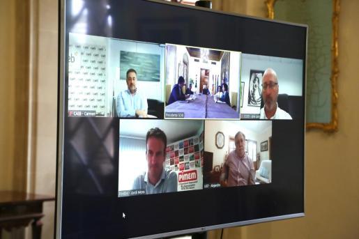 Representantes de patronal y sindicatos, durante la reunión telemática celebrada este miércoles con el Govern.