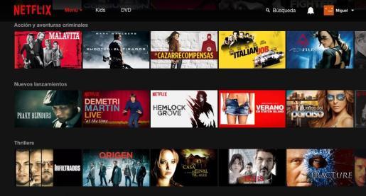 Imagen del portal digital Netflix.