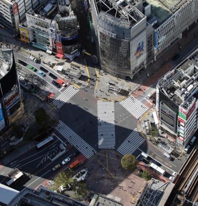Vista aérea del cruce de Shibuya, habitualmente lleno de personas.