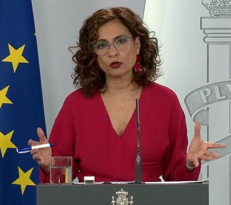 Captura de la señal institucional de Moncloa de la comparecencia de la ministra portavoz del Gobierno, María Jesús Montero.