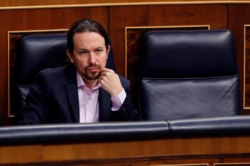 El vicepresidente segundo del Gobierno, Pablo Iglesias, durante la primera sesión de control al Ejecutivo.