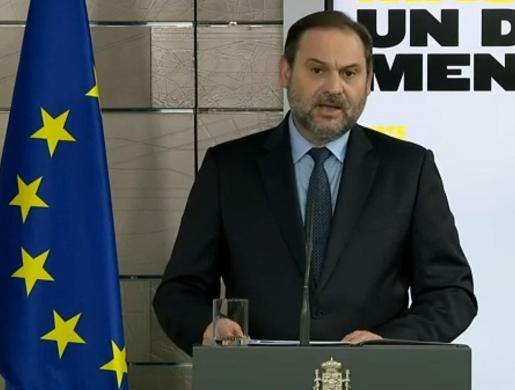 Captura de la señal institucional de Moncloa, del ministro de Transportes, José Luis Ábalos.