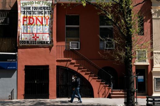 Mensaje en Nueva York durante la pandemia.