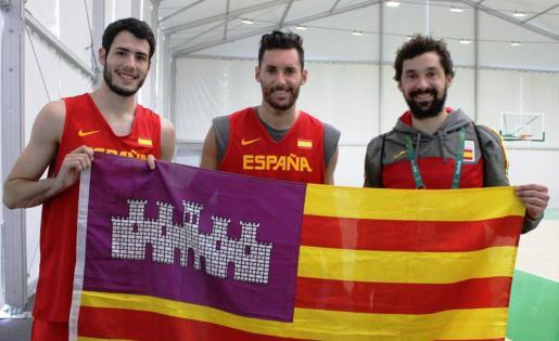 Los principales representantes de Baleares en la ACB: Álex Abrines, Rudy Fernández y Sergio Llull.