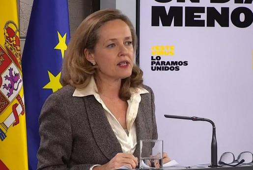 Captura de la señal institucional de Moncloa de la vicepresidenta económica, Nadia Calviño.