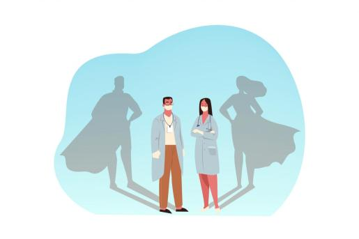 Healthcare, medicine, covid19, infection, 2019ncov, coronavirus, protection concept. Man and woman doctors superheroes with medical masks illustration. 2019ncov infection. Covid19 desease protection.