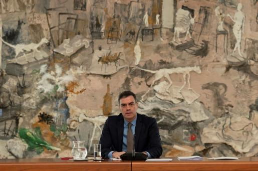 El jefe del Ejecutivo, Pedro Sánchez, en la reunión del comité técnico de seguimiento de la pandemia del coronavirus este sábado, 25 de abril.