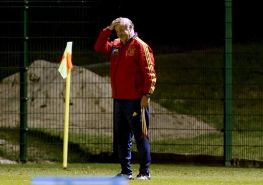 El seleccionador español, Vicentde del Bosque, durante el entrenamiento efectuado esta tarde en Donetsk.