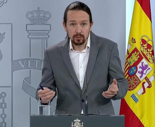 El vicepresidente segundo y ministro de Derechos Sociales y Agenda 2030, Pablo Iglesias, durante la rueda de prensa.