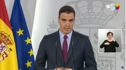 Pedro Sánchez, en un momento de su intervención de este martes.