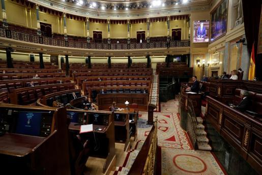 El presidente del Gobierno, Pedro Sánchez, durante su comparecencia en el pleno celebrado el pasado miércoles en el Congreso.